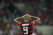 Paolo Guerrero of Flamengo reacts during the match between Flamengo and Sao Paulo as part of Brasileirao Series A 2018 at Maracana Stadium on July 18, 2018 in Rio de Janeiro, Brazil.
