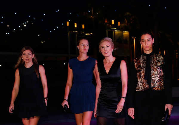 BNP Paribas WTA Finals: Singapore 2015 - Singapore Tennis Evening [event,fashion,performance,little black dress,fun,dress,night,performing arts,fashion design,stage,melissa pine,simona halep,kristina mladenovic,flavia pennetta,apac,marina bay sands,wta,bnp paribas,singapore 2015 - singapore tennis evening,finals]