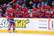 Andrei Markov #79 of the Montreal Canadiens celebrates his first period goal with teammates during the NHL game against the Florida Panthers at the Bell Centre on January 22, 2013 in Montreal, Quebec, Canada.