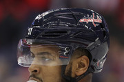 Devante Smith-Pelly #25 of the Washington Capitals looks on against the Florida Panthers during the first period at Capital One Arena on October 19, 2018 in Washington, DC.