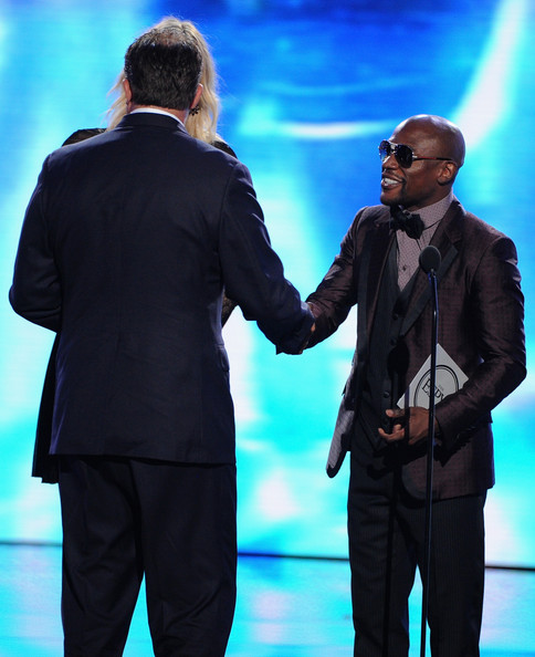 Inside the 2014 ESPYS — Part 2 [performance,event,suit,performing arts,gesture,formal wear,stage,the iron bowl,gus malzahn,maria sharapova,floyd mayweather jr.,l-r,game award,boxer,auburn,alabama,espys - show]