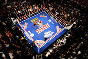 THIS IMAGE WAS TAKEN WITH A TILT-SHIFT LENS) Floyd Mayweather Jr. throws a right at Victor Ortiz in the fourth round during their WBC welterweight title fight at the MGM Grand Garden Arena on September 17, 2011 in Las Vegas, Nevada.