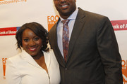 President & CEO at Food Bank, Margarette Purvis (L) and NFL football player Chris Canty attend the Food Bank For New York City Can Do Awards Dinner Gala at Cipriani Wall Street on April 21, 2015 in New York City.