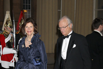 Queen Slivia of sweden Foreign Sovereigns Attend Dinner to Commemorate the Diamond Jubilee