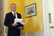 """Former Prime Minister, Tony Blair arrives for a press conference at Admiralty House, where responding to the Chilcot report he said: """"I express more sorrow, regret and apology than you may ever know or can believe on July 6, 2016. in London, United Kingdom. The Iraq Inquiry Report into the UK government's involvement in the 2003 Iraq War under the leadership of Tony Blair was published today. The inquiry, which concluded in February 2011, was announced by then Prime Minister Gordon Brown in 2009 and is published more than seven years later.  Mr Blair said that the report contained """"serious criticisms"""" but showed that """"there were no lies, Parliament and the Cabinet were not misled, there was no secret commitment to war, intelligence was not falsified and the decision was made in good faith""""."""