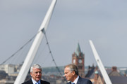 """Sir John Major and Tony Blair speak as they walk across the Peace Bridge on June 9, 2016 in Derry, Northern Ireland. Former Prime Ministers Sir John Major and Tony Blair travelled to Derry City in Northern Ireland warning that voting to leave the EU could """"jeopardise the unity"""" of the UK. They suggested that it may cause Scotland to re-visit an independence referendum and put Northern Ireland's """"future at risk"""".  Both politicians were instrumental in bringing peace to the region.  The Vote Leave campaign has said the idea that a Brexit could threaten the Northern Ireland Peace Process was irresponsible."""