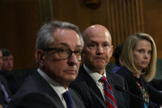"(L-R) Interim CEO of Equifax Paulino Barros, former CEO of Equifax Richard Smith, and former CEO of Yahoo Marissa Mayer testify during a hearing before Senate Commerce, Science and Transportation Committee November 8, 2017 on Capitol Hill in Washington, DC. The committee held a hearing on ""Protecting Consumers in the Era of Major Data Breaches."""