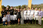 Hosts Nacho Figueras (2ndL), Vanessa Kay (5thL) and Delfina Blaquier (C) pose with the Black Watch and Nespresso Polo Teams during The Fourth-Annual Veuve Clicquot Polo Classic, Los Angeles at Will Rogers State Historic Park on October 5, 2013 in Pacific Palisades, California.