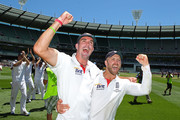 Kevin Pietersen and Matt Prior celebrate after winning the match during day four of the Fourth Test match between Australia and England at Melbourne Cricket Ground on December 29, 2010 in Melbourne, Australia.