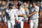 Matt Prior, Tim Bresnan and Kevin Pietersen of England leave the field at the end of days play during day three of the Fourth Test match between Australia and England at the Melbourne Cricket Ground on December 28, 2010 in Melbourne, Australia.