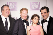 (L-R) Eric Stonestreet, Jesse Tyler Ferguson, Sarah Hyland and Ty Burrell arrive for Fox And FX's 2014 Golden Globe Awards Party - Arrivals on January 12, 2014 in Beverly Hills, California.