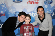 """(L-R) Actors Matthew Levy, Benjamin Stockham and executive producer Justin Berfield arrive at Fox's Meet The Top 12 """"American Idol"""" Finalists at Industry on March 11, 2010 in Los Angeles, California."""