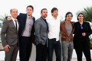 (L-R) Producer Jon Kilik, actors Channing Tatum, Steve Carell, director Bennett Miller, actor Mark Ruffalo and producer Megan Ellison attend the 'Foxcatcher' photocall during the 67th Annual Cannes Film Festival on May 19, 2014 in Cannes, France.
