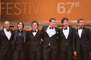 "(L-R) Jon Kilik, Megan Ellison, Mark Ruffalo, Channing Tatum, director Bennett Miller and Steve Carell attend the ""Foxcatcher"" premiere during the 67th Annual Cannes Film Festival on May 19, 2014 in Cannes, France."