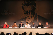 Actors Mark Ruffalo, Channing Tatum, director Bennett Miller, actor Steve Carell, Megan Ellison and Jon Kilik attend the 'Foxcatcher' press conference during the 67th Annual Cannes Film Festival on May 19, 2014 in Cannes, France.