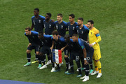 France players pose for ateam photo prior to the 2018 FIFA World Cup Final between France and Croatia at Luzhniki Stadium on July 15, 2018 in Moscow, Russia.