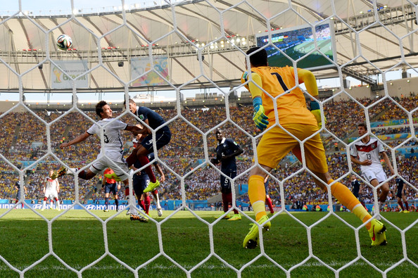 Mats Hummels of Germany scores his team's first goal on a header past Hugo Lloris of France during the 2014 FIFA World Cup Brazil Quarter Final match between France and Germany at Maracana on July 4, 2014 in Rio de Janeiro, Brazil.