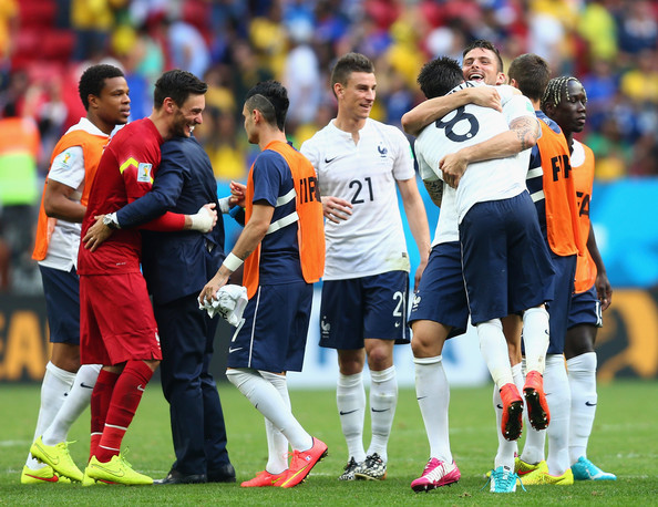 France celebrate after defeating Nigeria 2-0 during the 2014 FIFA World Cup Brazil Round of 16 match between France and Nigeria at Estadio Nacional on June 30, 2014 in Brasilia, Brazil.