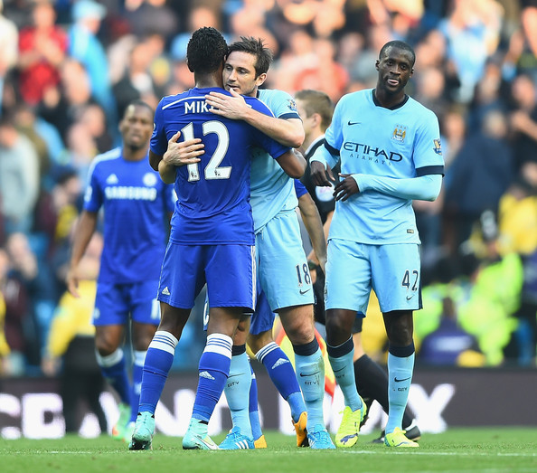 Manchester City v Chelsea - Premier League [player,sports equipment,team sport,ball game,sport venue,football player,team,tournament,sports,championship,frank lampard,john obi mikel,v,chelsea,manchester,england,etihad stadium,manchester city,premier league,match]