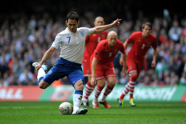 Frank Lampard Frank Lampard of England scores the opening goal from the penalty spot during the UEFA EURO 2012 Group G qualifying match between Wales and England at the Millennium Stadium on March 26, 2011 in Cardiff, Wales.