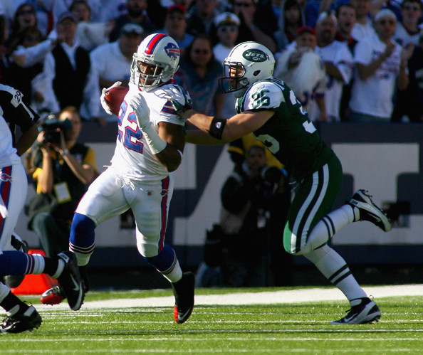 Fred Jackson Fred Jackson #22 of the Buffalo Bills runs against Jim Leonhard #36 of the New York Jets at Ralph Wilson Stadium on November 6, 2011 in Orchard Park, New York.