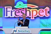 Richard Thompson, Chief Executive Officer of Freshpet, Inc rings the Opening Bell at NASDAQ MarketSite on November 7, 2014 in New York City.
