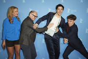 """(L-R) Angelika Niedetzky, Markus Schleinzer, Noah Saavedra and Aaron Friesz pose at the Netflix premiere of """"Freud"""" during the 70th Berlinale International Film Festival Berlin at Zoo Palast on February 24, 2020 in Berlin, Germany."""