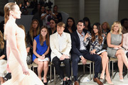 (2nd L-R) Kleinfeld Bridal Fashion Director Terry Hall, television personalities Josh Murray and Andi Dorfman and actress Alyshia Ochse sit front row at The Mark Zunino For Kleinfeld 2015 Runway Show at Kleinfeld on October 14, 2014 in New York City.