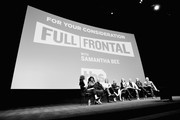 Image has been shot in black and white.) (L-R) Moderator Carrie Brownstein, Writer/corresponder Ashley Nicole Black, Producer/contributer Mike Rubens, Producer/contributer Allana Harkin, Executive producer/host Samantha Bee, Executive producer Jo Miller, Executive producer Miles Kahn, Producer Alison Camillo and Supervising Producer Pat King speak onstage at the Full Frontal with Samantha Bee FYC Event 2017 LA at the Samuel Goldwyn Theater on May 23, 2017 in Beverly Hills, California. 27026_002