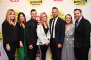 """(L-R) Jenn Cohen, Jennifer Kim,  Brett Weitz, Samantha Bee, Thom Hinkle, Ashley Golden, and David Wolkis attend """"Full Frontal With Samantha Bee"""" Not The White House Correspondents Dinner at DAR Constitution Hall on April 26, 2019 in Washington, DC. (Photo by Dimitrios Kambouris/Getty Images for TBS) 558302"""