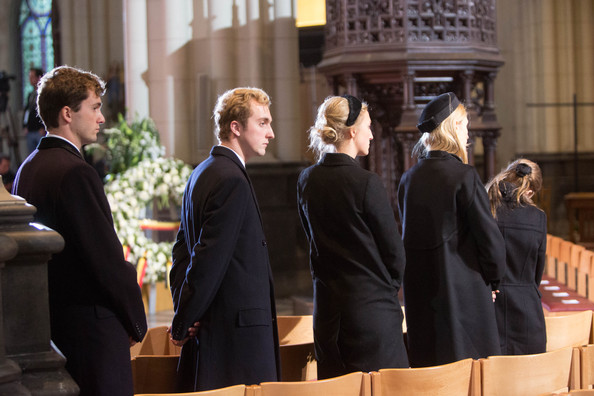Prince Amadeo, Prince Joachim, Princess Maria Laura, Princess Elisabetta Maria and Princess Louisa Maria of Belgium attend the funeral of Queen Fabiola at Notre Dame Church on December 12, 2014 in Laeken, Belgium.