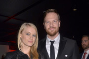 Leven Rambin and Jim Parrack attend a reception after the Washington D.C. premiere of 'Fury' at The Newseum on October 15, 2014 in Washington, DC.