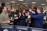 Davina McCall makes a trade at the GFI Charity Day to commemorate the 658 employees who perished on September 11, 2001 in the World Trade Center attacks on September 11, 2019 in London, England.