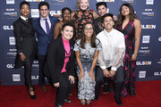 (L-R) Elle Smith, Matthew Yekell, Ayana Boyd, El Martinez, Melissa Peterman, Jessica Chiriboga, Darid Prom, Eric Samelo, and Soli Guzman attend the GLSEN Respect Awards Los Angeles at the Beverly Wilshire Four Seasons Hotel on October 25, 2019 in Beverly Hills, California.
