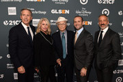 (L-R) Howard Schultz, Sheri Kersch Schultz, Norman Lear, Max Mutchnick, and David Kohan attend the GLSEN Respect Awards at the Beverly Wilshire Four Seasons Hotel on October 19, 2018 in Beverly Hills, California.