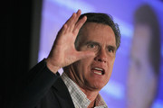 Republican presidential candidate, former Massachusetts Gov. Mitt Romney addresses the Americans for Prosperity Presidential Forum on February 25, 2012 in Troy, Michigan. Michigan residents will go to the polls on February 28 to vote their choice for the Republican presidential nominee.