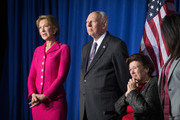 Carly Fiorina (L) and the parents of  Republican presidential candidate Sen. Ted Cruz (R-TX) Rafael Cruz and Eleanor Darragh listen as he speaks at his election night watch party at the Crowne Plaza Downtown Union Station where he announced he was suspending his bid for the Republican presidential nomination on May 3, 2016 in Indianapolis, Indiana.