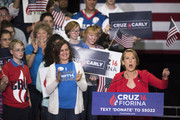 Former Hewlett-Packard chief executive Carly Fiorina speaks to supporters at a campaign rally for  Republican presidential candidate Sen. Ted Cruz (R-TX) in the Pavilion at the Pan Am Plaza on April 27, 2016 in Indianapolis, Indiana. Ted Cruz named Carly Fiorina as his pick for Vice President running mate during the rally.