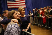Former Hewlett-Packard chief executive Carly Fiorina  and Vice Presidential candidate for Republican presidential candidate Sen. Ted Cruz (R-TX) greets people during a campaign rally at the Century Center on April 28, 2016 in South Bend, Indiana. Cruz continues to campaign leading up to the state of Indiana's primary day on Tuesday.