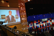 Presidential candidate  Rick Santorum speaks while New Jersey Gov. Chris Christie, Mike Huckabee, and Louisiana Gov. Bobby Jindal look on during the Republican Presidential Debate sponsored by Fox Business and the Wall Street Journal at the Milwaukee Theatre November 10, 2015 in Milwaukee, Wisconsin. The fourth Republican debate is held in two parts, one main debate for the top eight candidates, and another for four other candidates lower in the current polls.