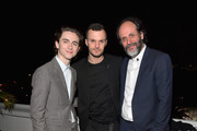 (L-R) Timothée Chalamet, Kris Van Assche and Luca Guadagnino attend GQ and Dior Homme private dinner in celebration of The 2017 GQ Men Of The Year Party at Chateau Marmont on December 7, 2017 in Los Angeles, California.  (Photo by Charley Gallay/Getty Images for GQ) *** Local Caption *** Timothee Chalamet; Kris Van Assche; Luca Guadagnino
