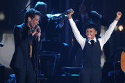 Nate Ruess of Fun. and Janelle Monae perform onstage at The GRAMMY Nominations Concert Live!! held at Bridgestone Arena on December 5, 2012 in Nashville, Tennessee.