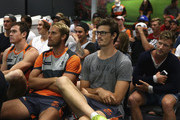 Jeremy Cameron, Joel Patfull, Tom Davis and Rhys Palmer of the Giants look on during a team meeting after a Greater Western Sydney Giants AFL training session at the Giants Training Centre on March 2, 2015 in Sydney, Australia.