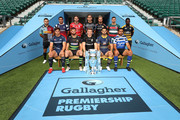 (Back Row (L-R) Danny Care of Harlequins, George Smith of Bristol Bears, Jaco Kriel of Gloucester Rugby, Toby Flood of Newcastle Falcons, Jack Nowell of Exeter Chiefs, Ben Youngs of Leicester Tigers, Christian Wade of Wasps. (Front Row (L-R) Jonno Ross of Sale Sharks, Tom Wood of Northampton Saints, Owen Farrell of Saracens, Ben Te'o of Worcester Warriors, Taulupe Faletau of Bath Rugby pose for a photo during the Gallagher Premiership Rugby 2018-19 Season Launch at Twickenham Stadium on August 23, 2018 in London, England.