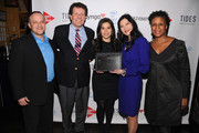(L-R) Asi Burak, Nicholas D. Kristof, America Ferrera, Sheryl WuDunn and Michelle Byrd attend Games For Change presents the launch of Half The Sky Movement: The Game at No. 8 on March 4, 2013 in New York City.