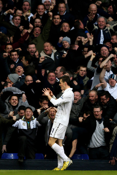 Tottenham's Gareth Bale celebrates scoring against Arsenal