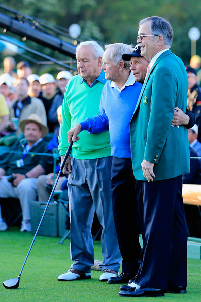 The Masters: Round 1 [event,recreation,fourball,golf club,tee,william porter payne,starters,gary player,arnold palmer,jack nicklaus,masters - round one,augusta national golf club,start,round]