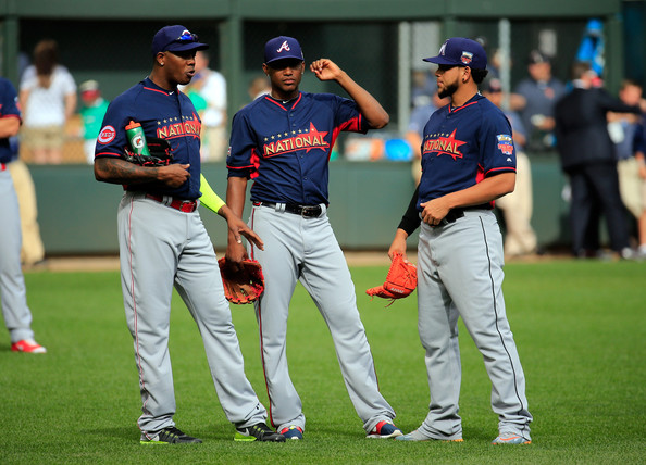 Aroldis Chapman of the Cincinnati Reds, Julio Teheran of the Atlanta Braves, and Henderson Alvarez of the Miami Marlins speak during the Gatorade All-Star Workout Day at Target Field on July 14, 2014 in Minneapolis, Minnesota. (July 13, 2014 - Source: Rob Carr/Getty Images North America)