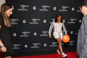 """(L-R) Melissa Ortiz, Gisela Robledo Gil and Landon Donovan dribble a soccer ball at the Gatorade premiere of the docu-series, """"Cantera 5v5"""" during the Tribeca TV Festival on Saturday, September 14, 2019 in New York City."""