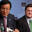 Jim Flaherty Geithner Holds Press Conference After G-20 Meeting Of Finance Ministers